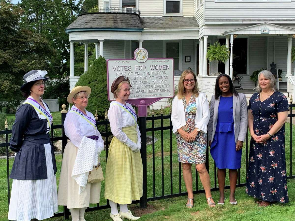 Several state and local officials gathered in Cromwell on Tuesday morning to unveil a memorial established for historical Cromwell figure Emily Pierson. Pierson was a pivotal figure in the women's suffrage movement.