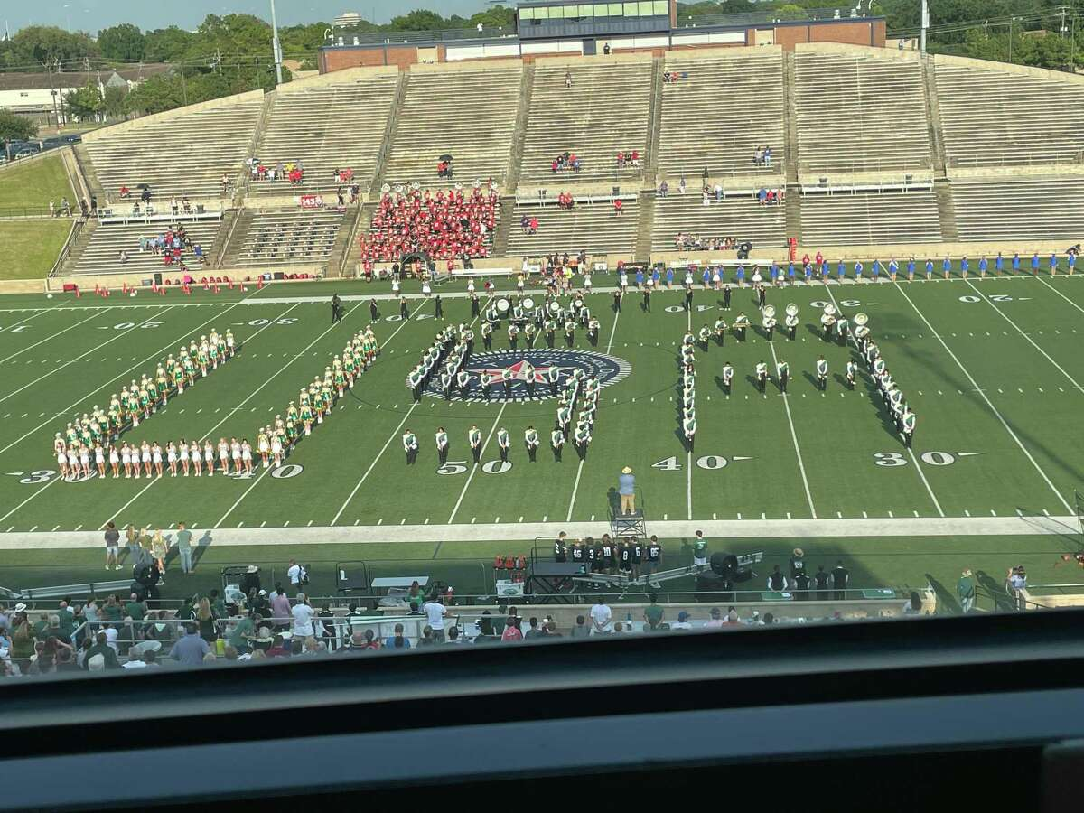 The Stratford band, cheerleaders and Spartanaires did a tribute to commemorate the 20th anniversary of the 9/11 terror attacks before the Stratford vs. Fort Bend Dulles game at Tully Stadium on Sept. 11.