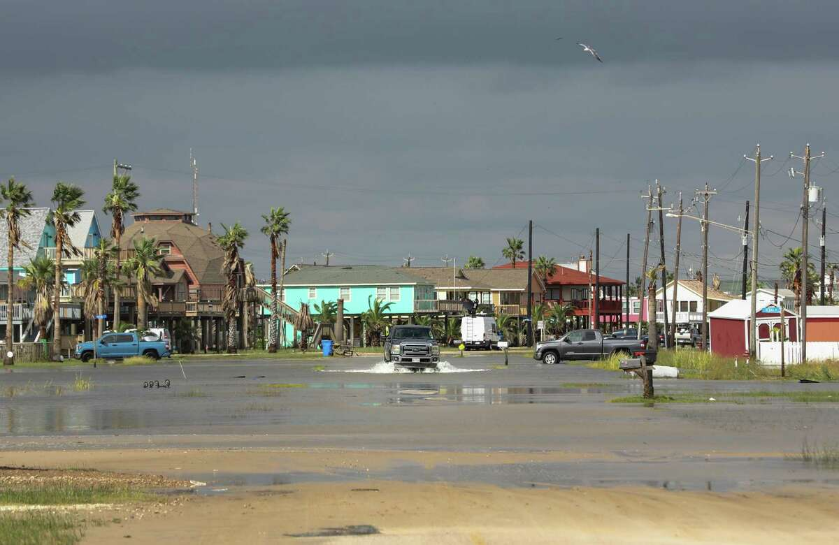 Streets remain flooded from Hurricane Nicholas on Tuesday, Sept. 14, 2021, in Surfside Beach.