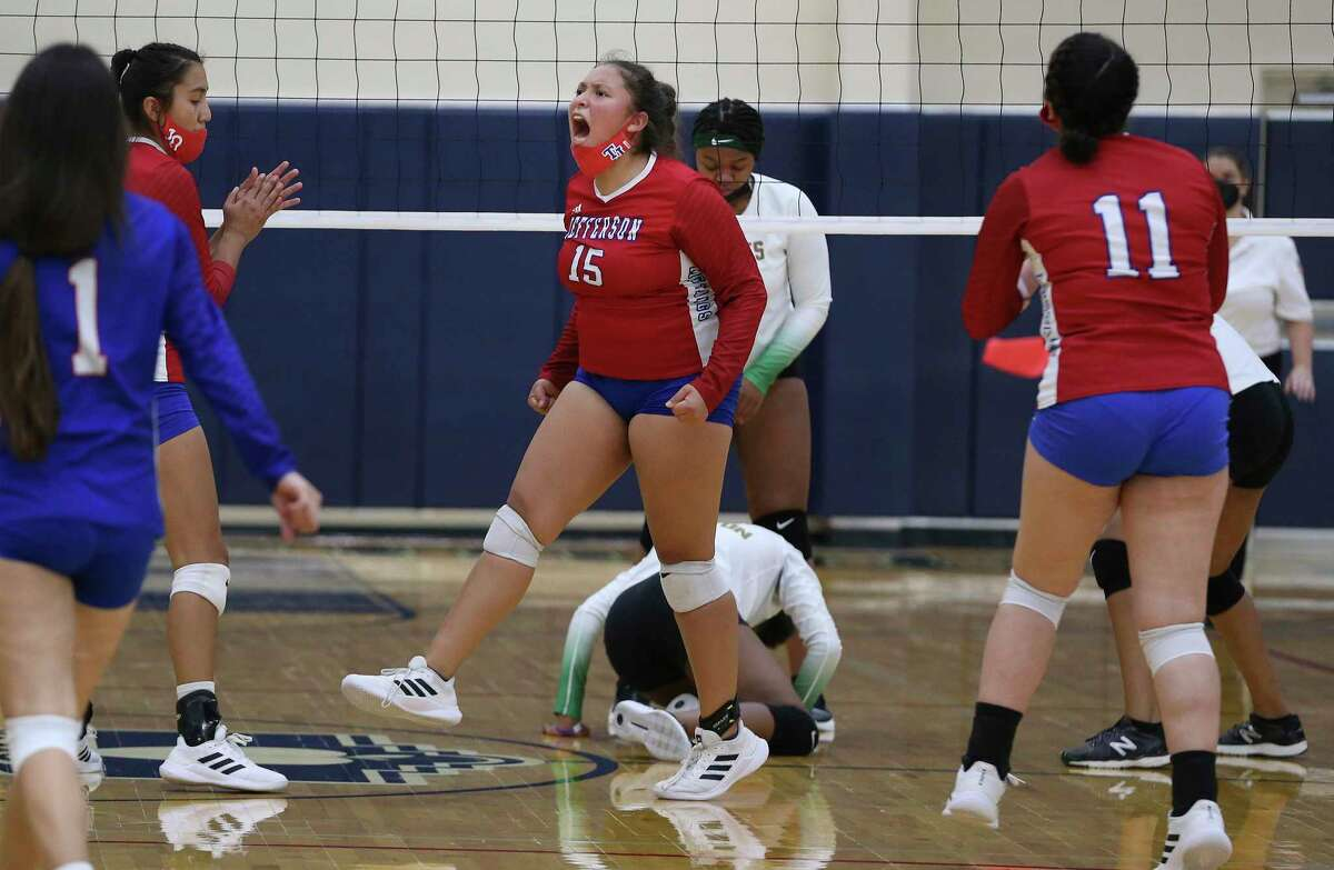 Jefferson's Sahyani Cortez (15) reacts after making a block against Sam Houston during their volleyball match at Alamo Convocation Center on Tuesday, Sept. 14, 2021. Jefferson routed Sam Houston, 3-0 in sets, to take the win.