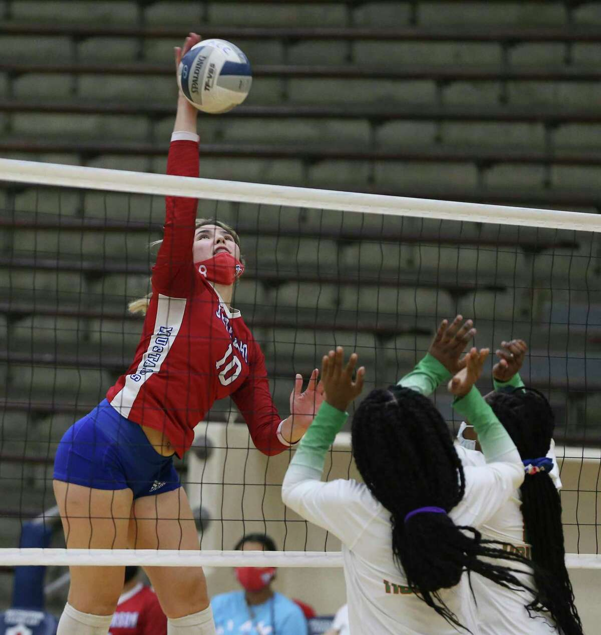 Jefferson's Summer Silva (10) records one of her nine kills against Sam Houston during their volleyball match at Alamo Convocation Center on Tuesday, Sept. 14, 2021. Jefferson routed Sam Houston, 3-0 in sets, to take the win.