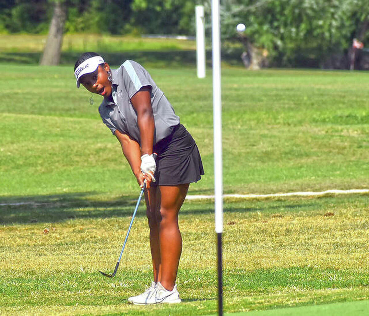 """The Edwardsville girls golf match against O'Fallon on Tuesday at Oak Brook Golf Club was rained out after 12 holes. The Tigers and Panthers were playing a Ryder Cup format for a """"fun day"""" on the links for the two Southwestern Conference programs."""