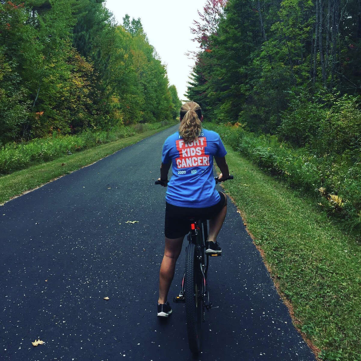 Savannah Wallace prepares to hit the Pere Marquette Rail Trail to raise money for cancer research through the Great Cycle Challenge in this undated photo.