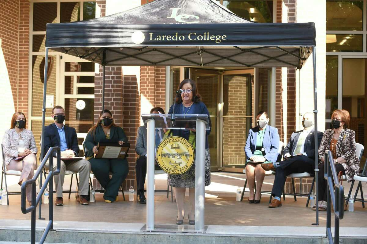 Dr. Nora Gonzalez talks about the 75th year anniversary of Laredo College and its impact on the community since its days known as Laredo Junior College in front of the Harold Yeary Library on Tuesday, September 14, 2021.