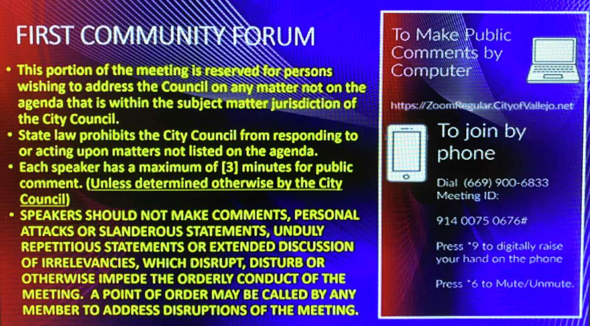 A screenshot of the speaking rules displayed during Vallejo's City Council meeting Tuesday evening.