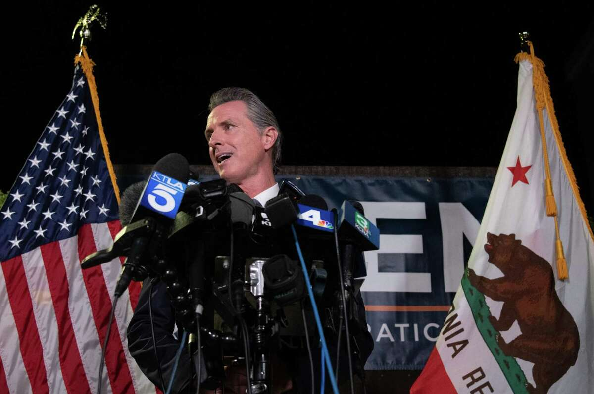 California Governor Gavin Newsom during a media availability following special election results at the California Democratic Party Headquarters in Sacramento, Calif., on Tues., Sept. 14, 2021. California Governor Gavin Newsom defeated the recall effort on Tuesday in only the second gubernatorial recall election in state history.