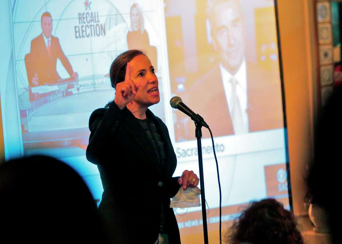 California Lt. Gov. Eleni Kounalakis speaks to supporters of Gov. Gavin Newsom gathered at Manny?•s in San Francisco to watch recall election results on Sept. 14.