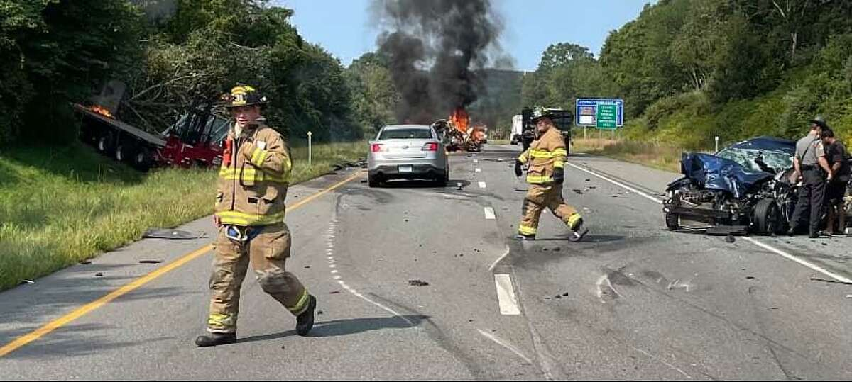 Troopers responded to Interstate 95 south near Exit 90 in Stonington, Conn., for a reported crash on Tuesday, Sept. 15, 2021.