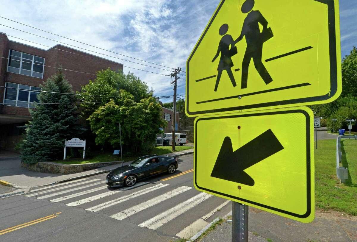 Signs on around Jefferson Science Magnet School in Norwalk.