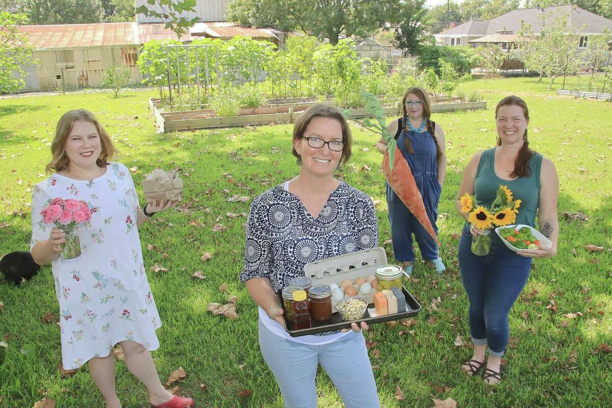 Brookside Village Farmers Market organizers are preparing for the event to launch Oct. 10. They include Alex Hancock, left, Cyndy Schaefer, Shanna Crew and Lindsay Gonzales.