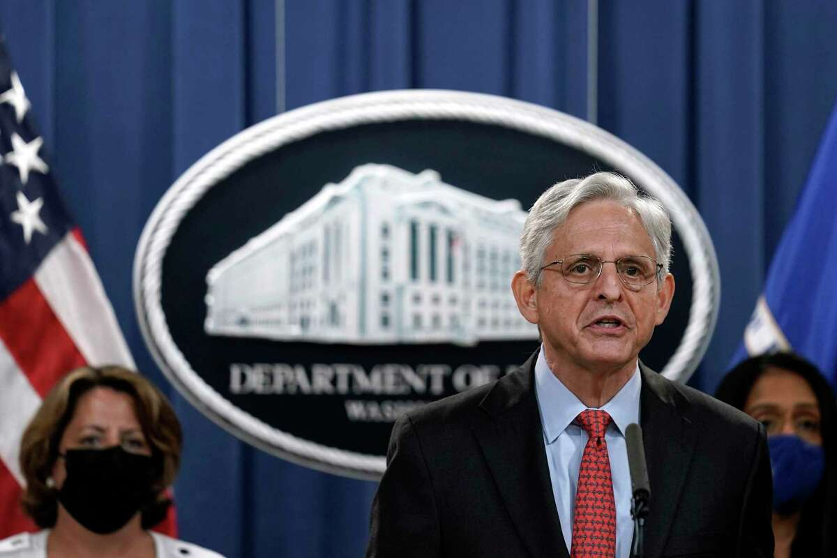 Attorney General Merrick Garland announces a lawsuit against Texas over the new law that prohibits nearly all abortions in the state, in Washington, on Thursday, Sept. 9, 2021. (Yuri Gripas/The New York Times)