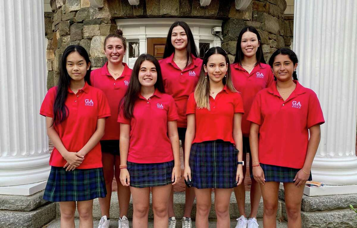 Seven seniors at Greenwich Academy are semifinalists in the 67th annual National Merit Scholarship Program. The girls qualified as semifinalists by scoring in the top 1 percent on the 2020 preliminary SAT (PSAT). The students are, front row, from left: Angela Zhang, Helena Servin-DeMarrais, Natalie Shell and Sachi Laumas; and back row: Ellie McIntyre, Mia Garvey and Jeslyn Guo.