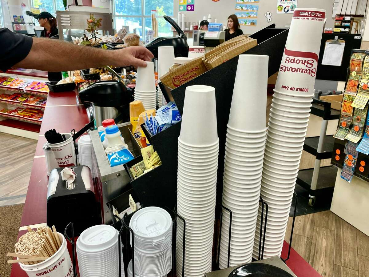 The supply of Stewart's coffee cups with the stylized writing on the side are about to vanish - at least temporarily. The convenient store chain faces supply chain shortages and will rely on the anonymous white cups until the iconic cups return.