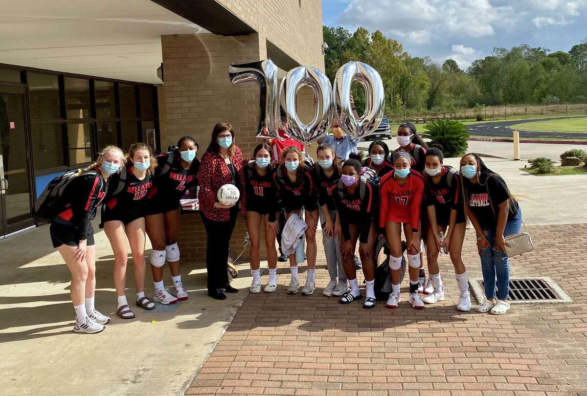 The Bellaire volleyball team celebrated coach Nicole Blakeman's 700th career win last season