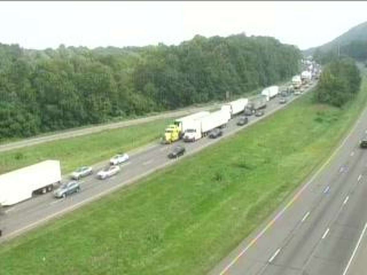 Traffic is backed up for about 3 miles after a crash on I-91 in Meriden, Conn., on Wednesday, Sept. 15, 2021.