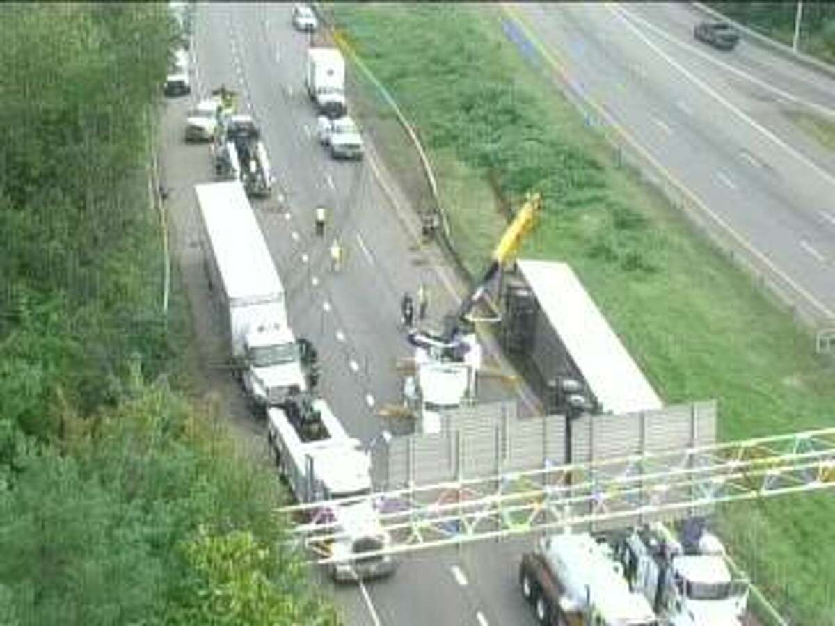 A crash was reported on I-91 south near Exit 17 in Meriden, Conn., around 8 a.m. Wednesday, Sept. 15, 2021.