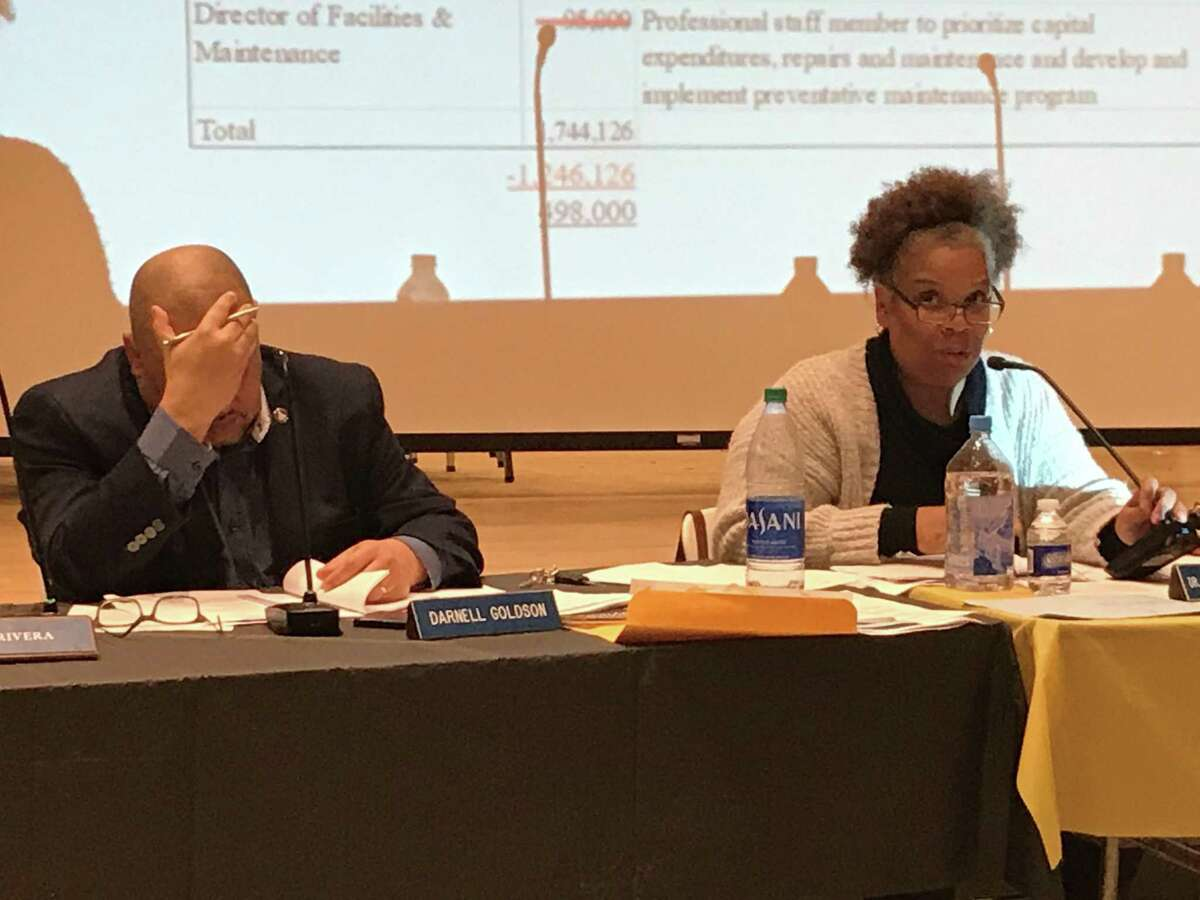 New Haven Board of Education members Darnell Goldson and Tamiko Jackson-McArthur Feb., 2020.