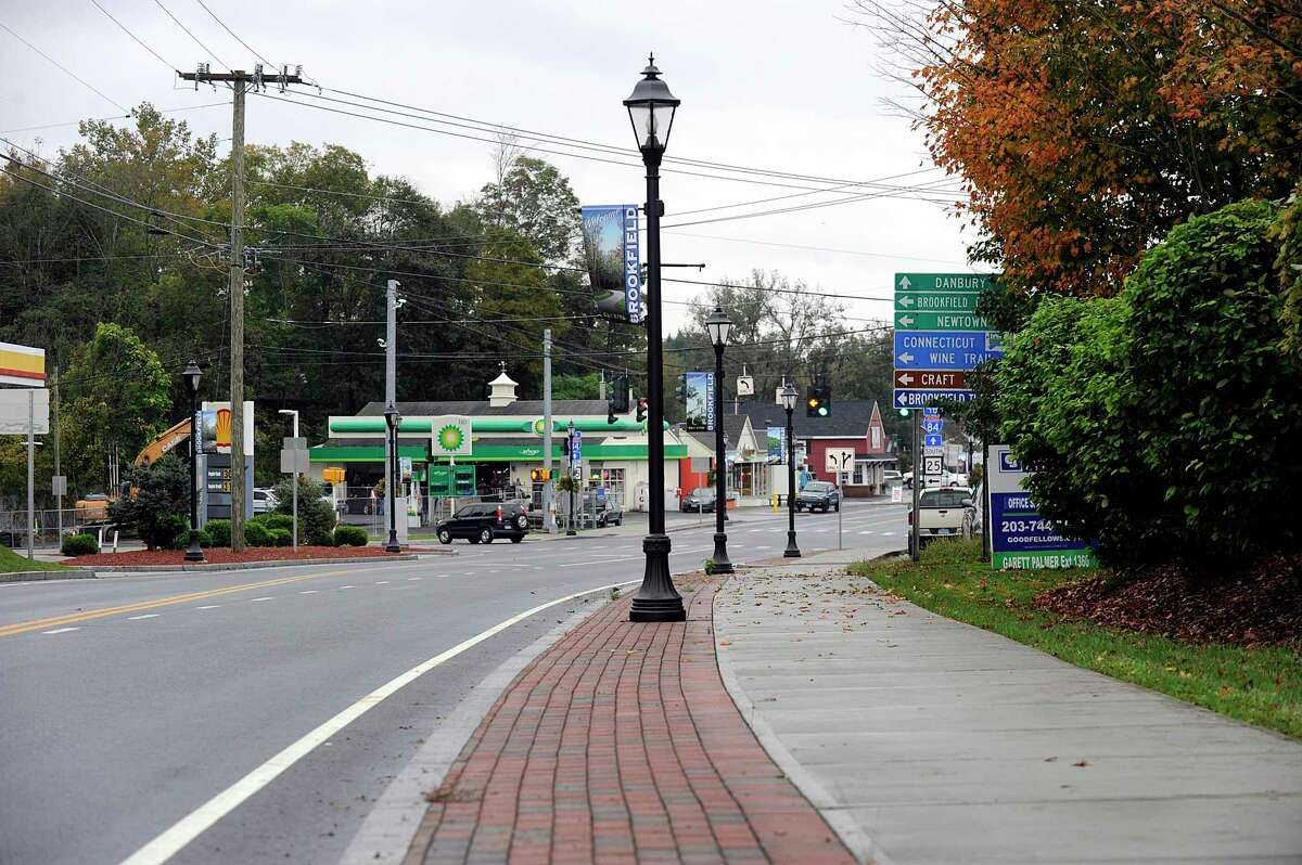 The Brookfield Streetscape project includes sidewalks and street lamps like the ones pictured here, north of the four corners, Monday, Oct. 15, 2018.