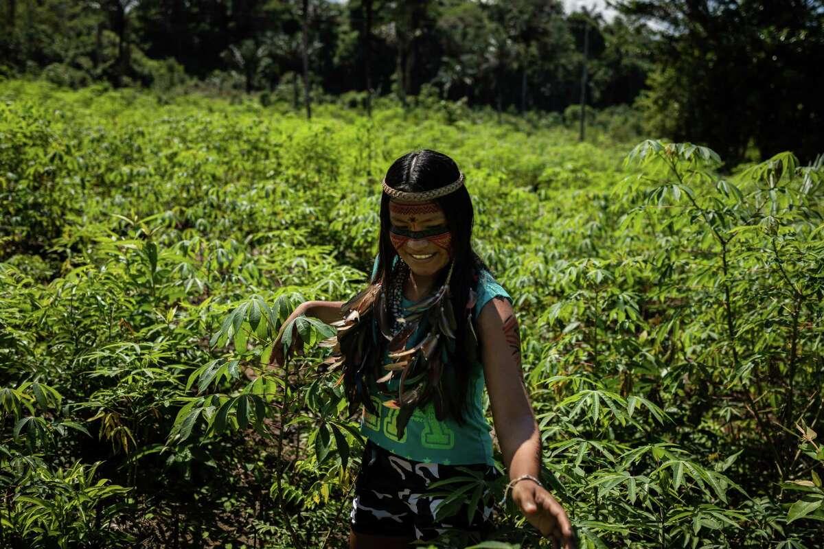 Maira Tatuyo, 22, an indigenous digital influencer with more than 5 million followers on TikTok, stands amid a cassava plantation in the Tatuyo Indigenous Community, in the Rio Negro region of Manaus, Brazil, on July 10, 2021.