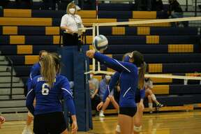 Onekama volleyball takes on the Manistee Chippewas in 2020.