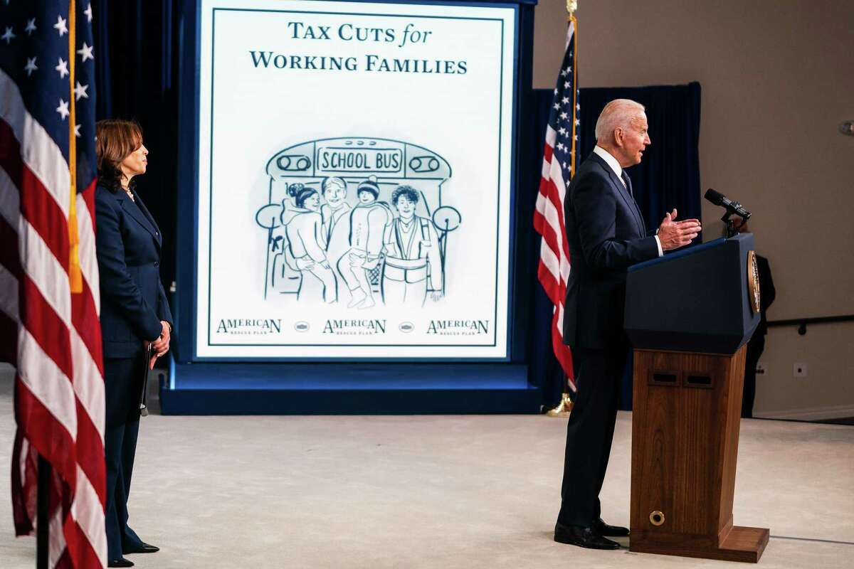 President Biden gives remarks regarding the child tax credit relief payments in the South Court Auditorium at the Eisenhower Executive Office Building on July 15.