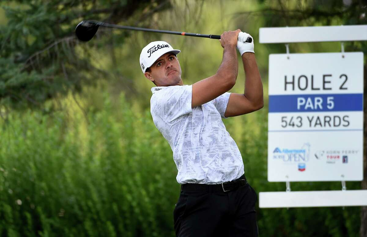 Joseph Bramlett hits a tee shot during the Albertsons Boise Open last month. Bramlett, a Bay Area native, picked up his first professional victory Sept. 5 at the Korn Ferry Tour Championship.