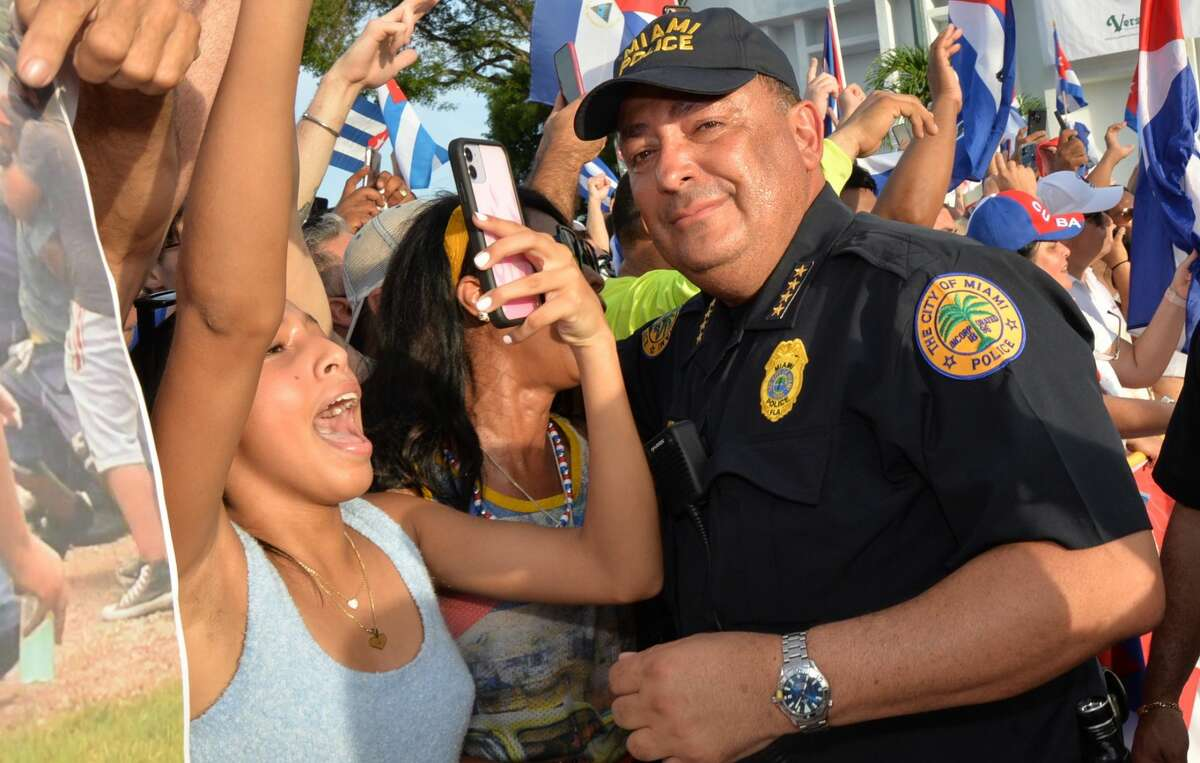 Miami Police Chief Art Acevedo attends SOSCuba rally in support of the demonstration for Freedom in Cuba at Versailles restaurant in Little Havana on July, 14, 2021 in Miami, FL