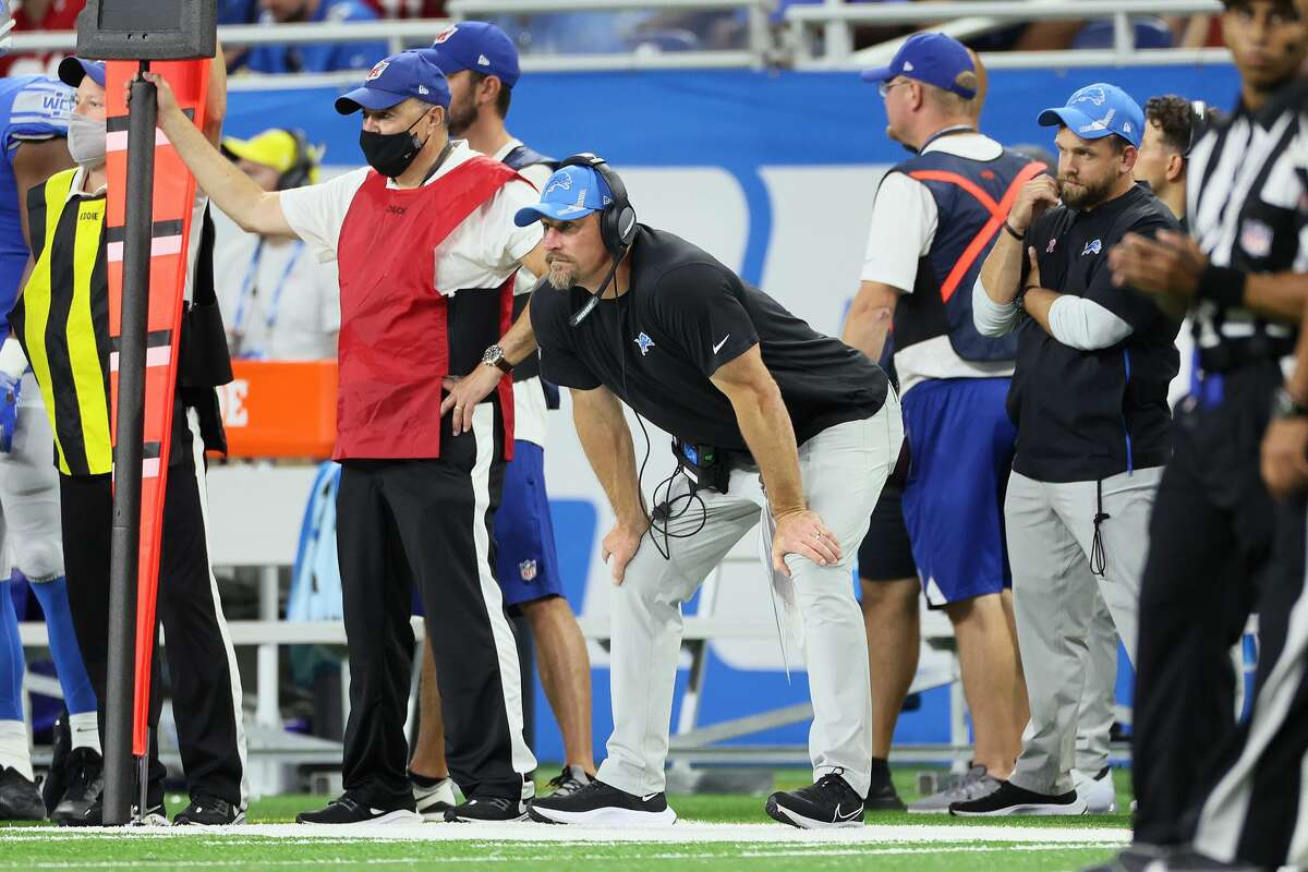 Detroit Lions head coach Dan Campbell looks on from the sidelines during an NFL football game between the Detroit Lions and the San Francisco 49ers in Detroit, Michigan USA, on Sunday, September 12, 2021. (Photo by Amy Lemus/NurPhoto via Getty Images)