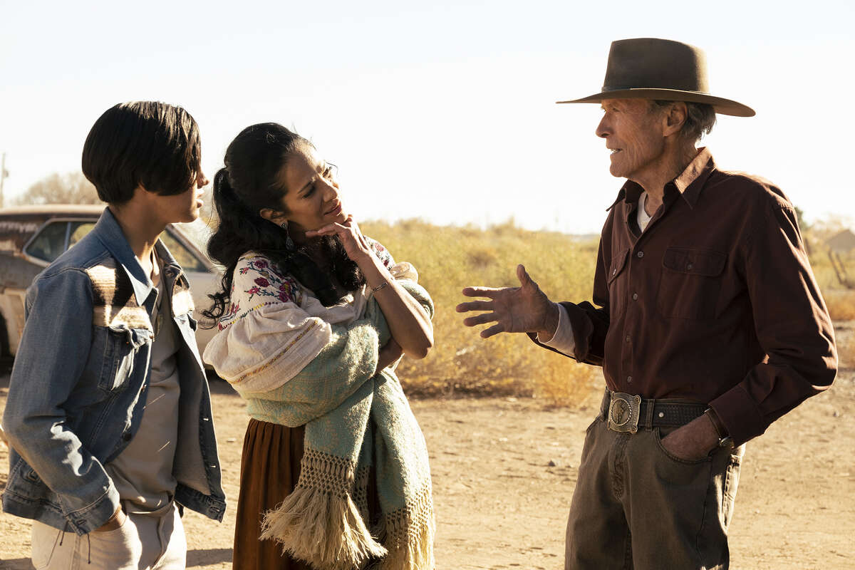 """From left: Eduardo Minett, Natalia Traven and Clint Eastwood in """"Cry Macho."""""""