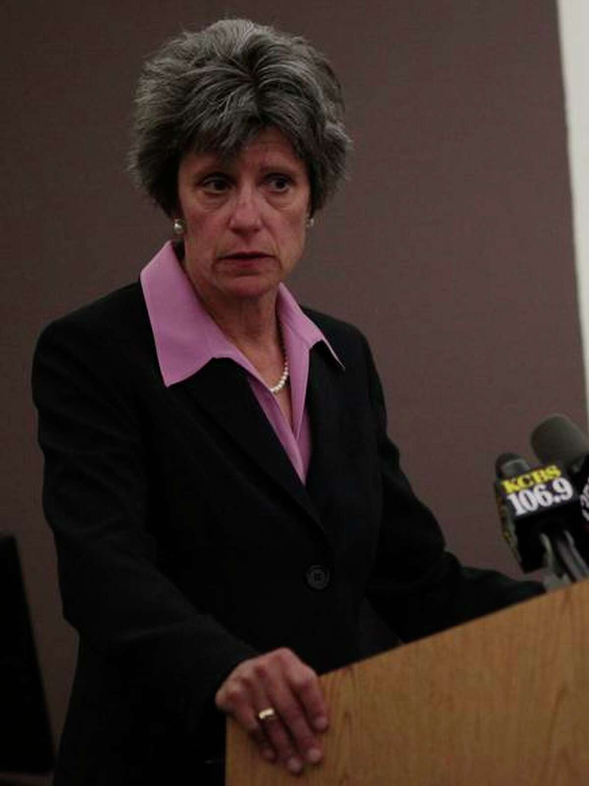 Sonoma County District Attorney Jill Ravitch at a 2014 press conference. Ravitch overwhelmingly beat back an attempt to recall her from office.
