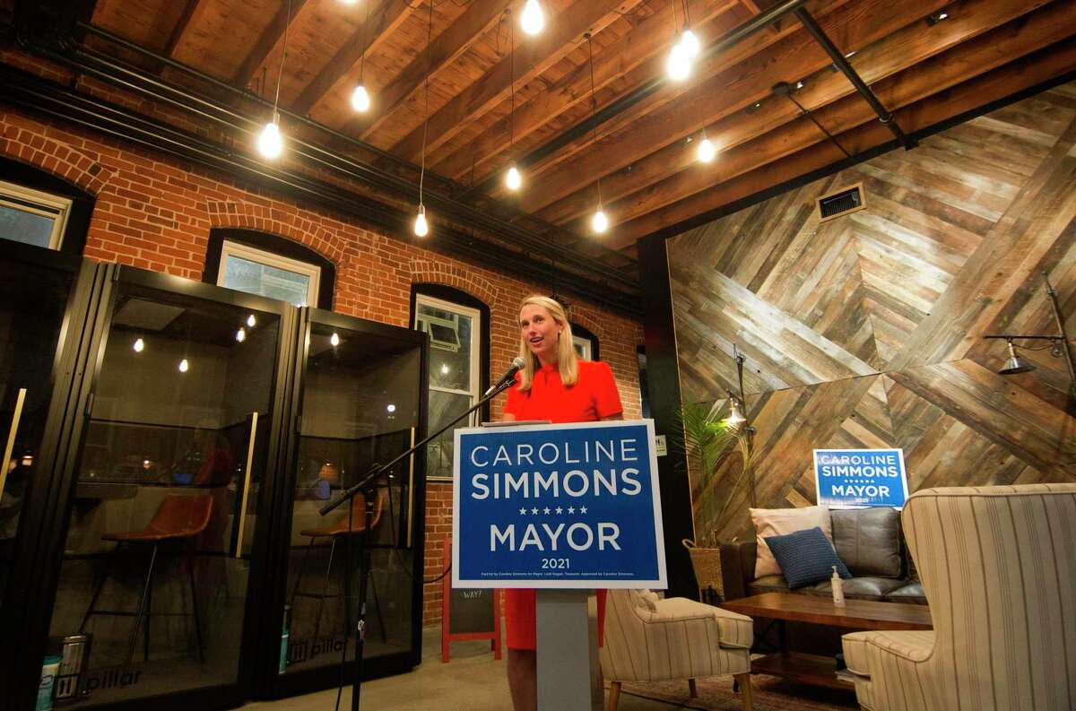 Mayoral candidate Caroline Simmons speaks to her supporters after beating Mayor David Martin during a party for her at campaign HQ, held at Third Place by Half Full Brewery on Pacific St. in Stamford, Conn., on Tuesday September 14, 2021.