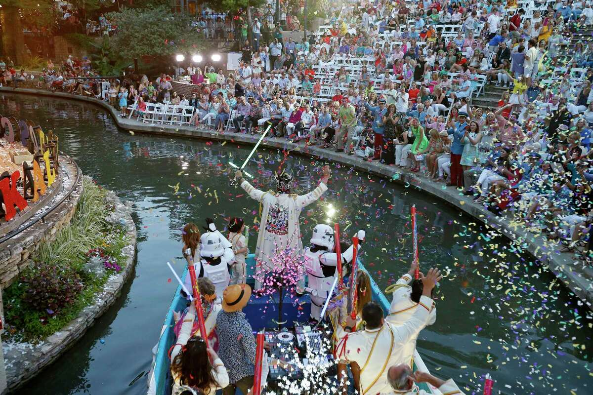 A float enters the Arneson River Theatre during the 2017 Texas Cavaliers River Parade. Hispanic Heritage Month begins this week and runs through the middle of next month.