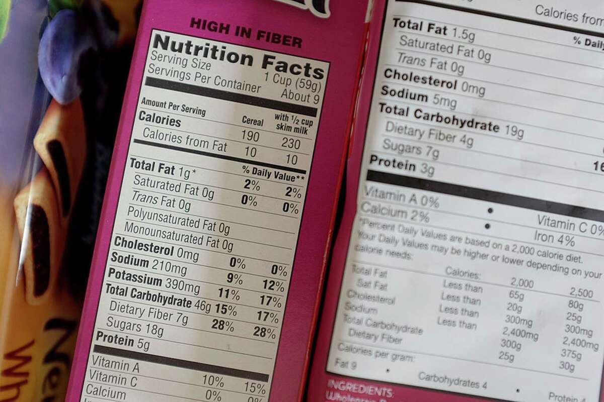 Nutrition labels are seen on food packaging on February 27, 2014 in Miami, Florida. (Joe Raedle/Getty Images/TNS)