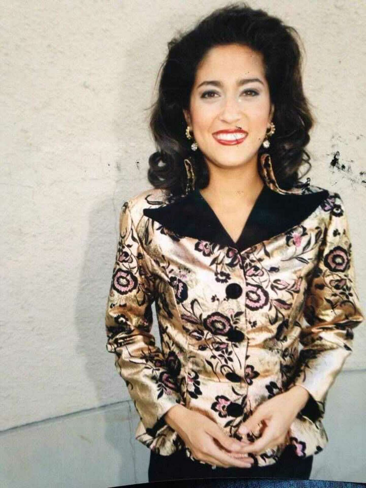 Former San Antonio anchor Sarah Lucero wearing a custom outfit created by Selena in 1994.