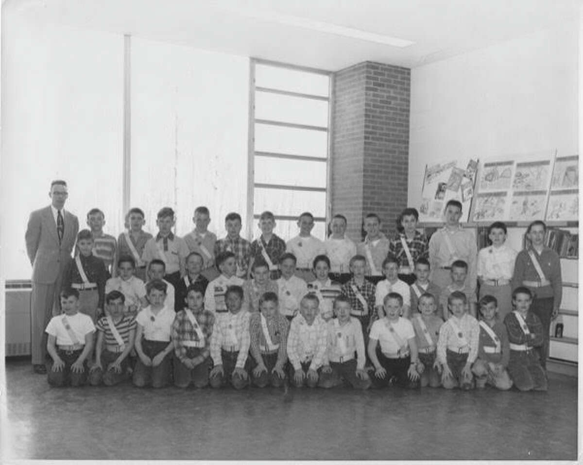 """Plymouth Elementary School Safety Patrol squad. """"Midland streets in that area were not very busy. Washington Street dead-ended before Meadowbrook."""" Photo courtesy of Bill Trull"""