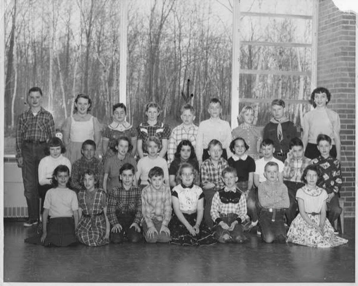 Miss Batchelder's class in 1956 at Plymouth Elementary School. Bill Trull believes it was fifth grade. An arrow points to him. Photo courtesy of Bill Trull