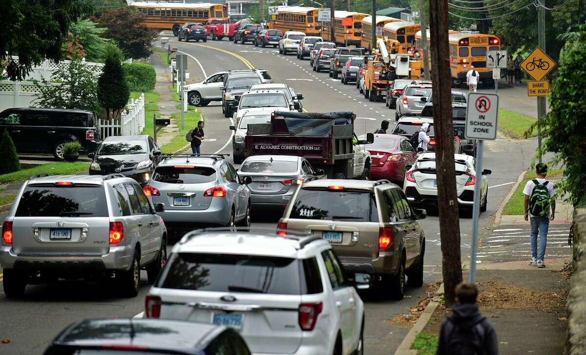 Traffic near Norwalk High, Naramake, Nathan Hale and Schools, that backs up on Strawberry Hill Wednesday, September 15, 2021, in Norwalk, Conn. Norwalk Public Schools in considering changing start times to ease congestion.