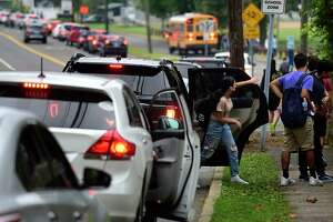 Traffic near Norwalk High School that backs up on Strawberry Hill Wednesday, September 15, 2021, in Norwalk, Conn. Norwalk Public Schools in considering changing start times to ease congestion.