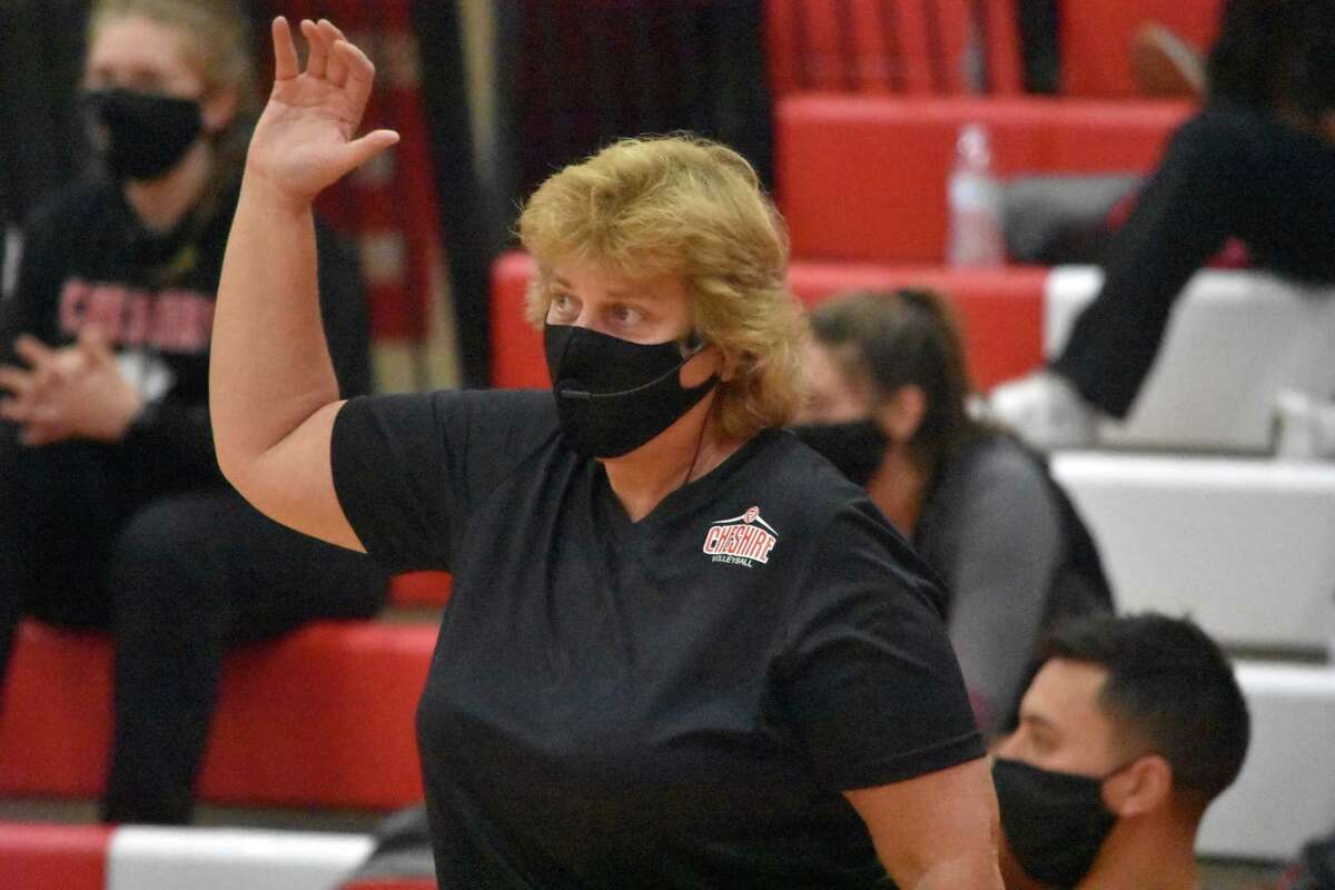 Cheshire coach Sue Bavone on the sidelines in the SCC Division B girls volleyball championship game in October.
