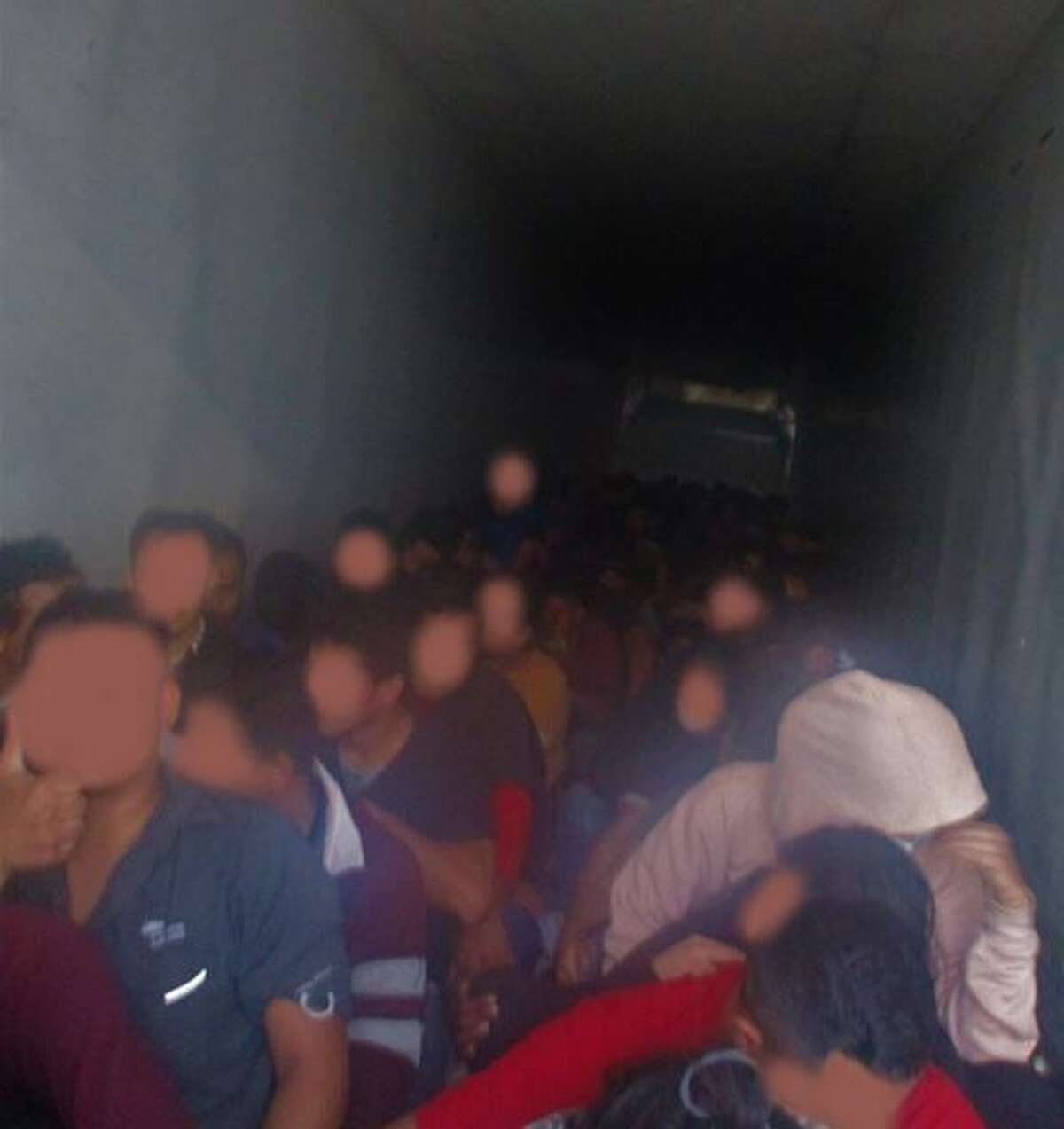 U.S. Border Patrol agents said these 103 migrants, including several juveniles, were locked inside a hot trailer. Agents said that a migrant was treated for heat exhaustion after passing out.