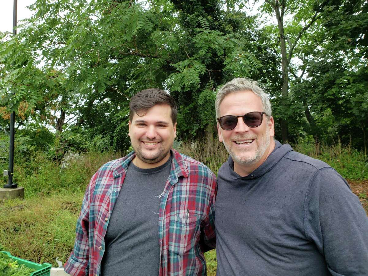 Alec Demonico (left), chef at Kawa Ni in Westport with chef/owner Bill Taibe at the Westport Farmers Market.