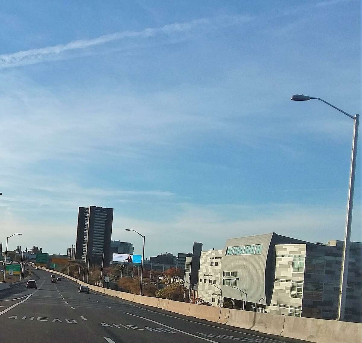A view of New Haven from the Route 34 ramp heading downtown. Metropolitan Business Academy school is at right.