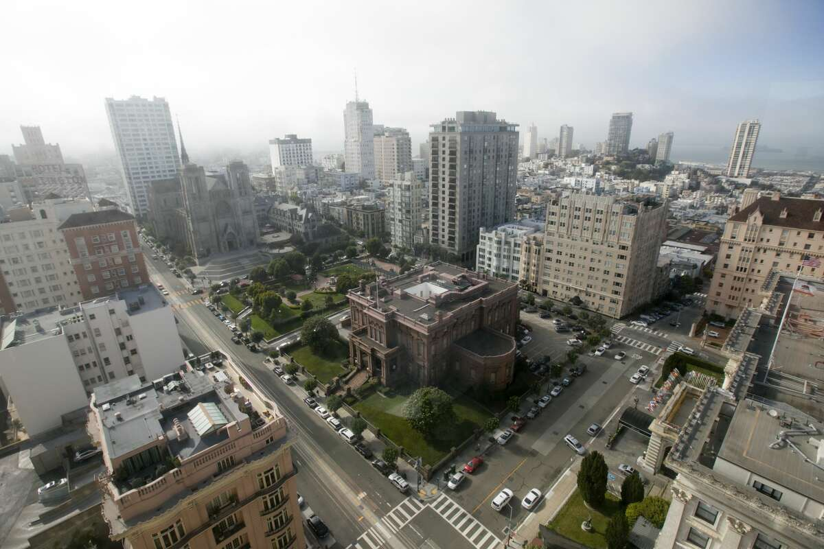 The views of Huntington Square from the top of the mark.  San Francisco, California, September 14, 2021.