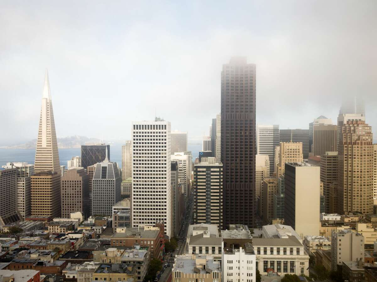 The view of the Transamerica Pyramid and downtown San Francisco from the Top of the Mark bar and restaurant on top of the InterContinental Mark Hopkins hotel in San Francisco, Calif. on Sept. 14, 2021.