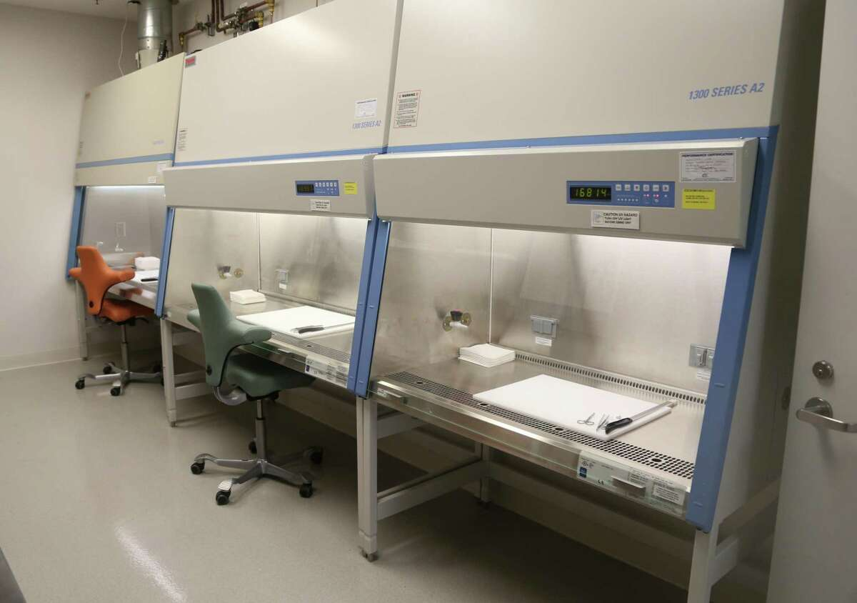 This is a view of the grossing room for brain cutting at the Glenn Biggs Institute Brain Bank at UT Health San Antonio.