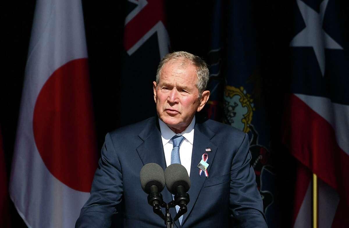 Former President George W. Bush speaks during a 9/11 commemoration at the Flight 93 National Memorial in Shanksville, Pennsylvania, on Sept. 11, 2021. (Mandel Ngan/AFP/Getty Images/TNS)