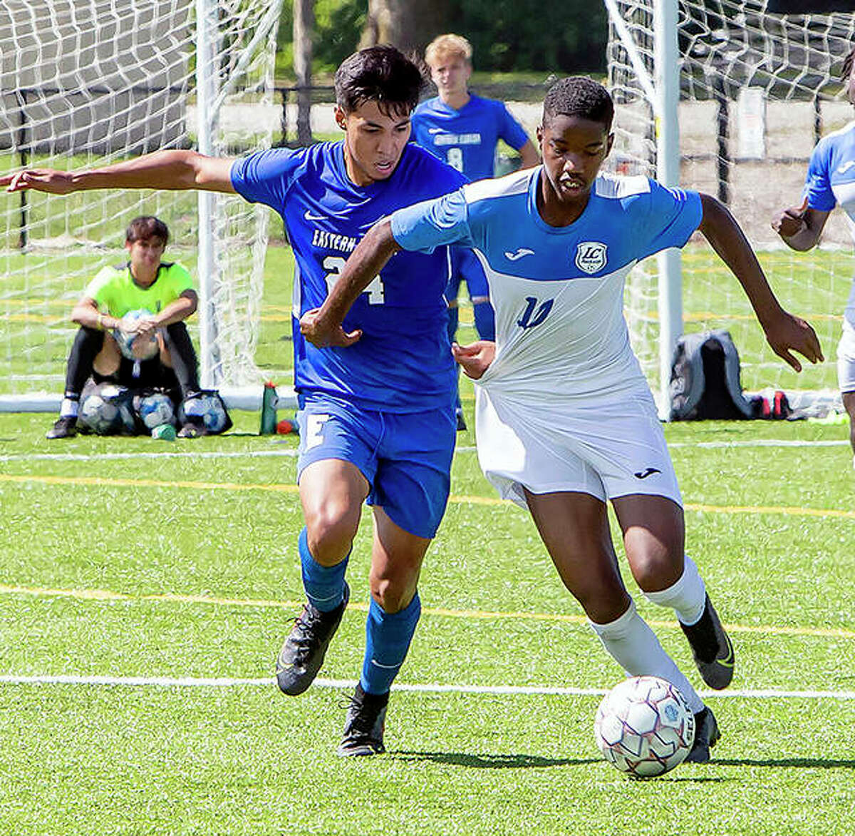 Tyriq Gordon of Lewis and Clark (11) scored a goal in Wednesday's 5-1 victory over Lincoln Trail College in Robinson. He is shown in action Sept. 5 against Southwestern Florida State College.
