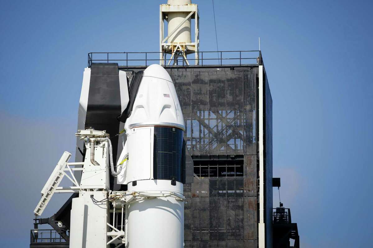 The SpaceX Falcon 9 rocket and Crew Dragon spacecraft ahead of the Inspiration4 mission at NASA's Kennedy Space Center in Florida on Wednesday, Sept. 15, 2021.