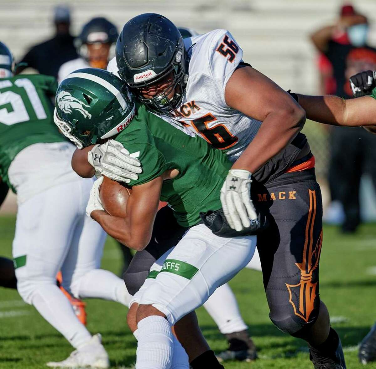 McClymonds defensive linemanSimeon Mitchell, here in a game in April against Manteca, is part of a defense that has allowed only 14 points in two games this season.