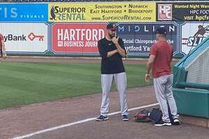 Red Sox closer chats out in right field prior to his rehab stint with Portland against the Hartford Yard Goats on Wednesday at Dunkin' Donuts Park.